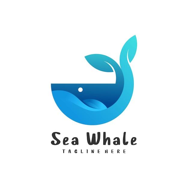 Логотип иллюстрации кита градиент красочный стиль Premium векторы