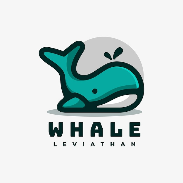 Логотип иллюстрация кит простой стиль талисмана. Premium векторы