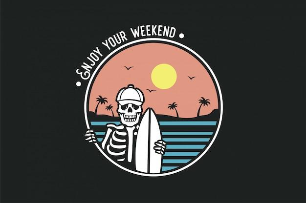 Logo illustration with skeleton surfer Premium Vector