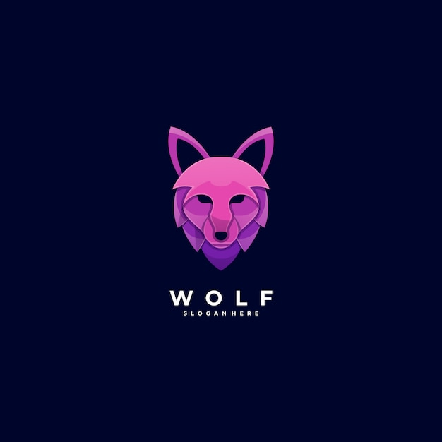Логотип иллюстрация волчья голова градиента красочный стиль. Premium векторы