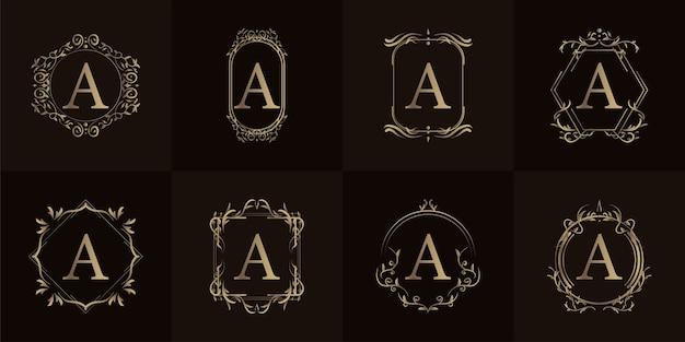 로고 이니셜 A, 고급 장식 또는 꽃 프레임, 세트 컬렉션. 프리미엄 벡터