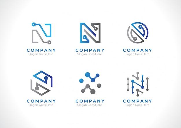 ロゴ頭文字nテクノロジー Premiumベクター