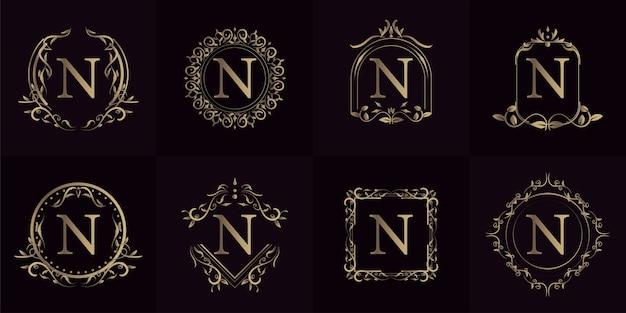 豪華な飾りやフラワーフレームのロゴイニシャルn、セットコレクション。 Premiumベクター