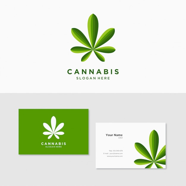 Logo inspiration hemp cannabis marijuana with business card template Premium Vector