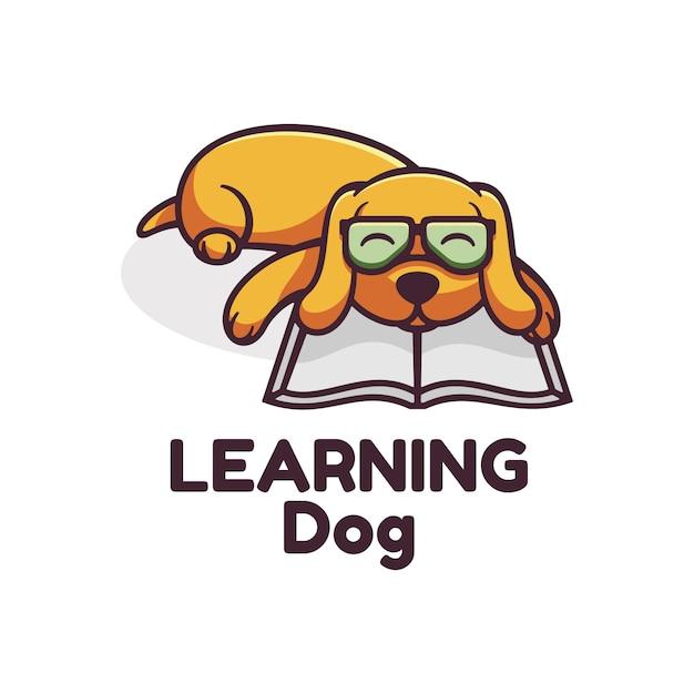 Logo learning dog простой стиль талисмана. Premium векторы