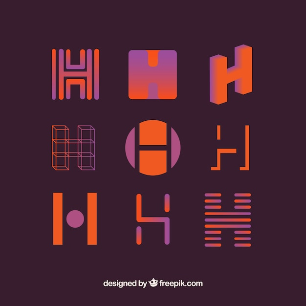 Logo letter h template collection Premium Vector
