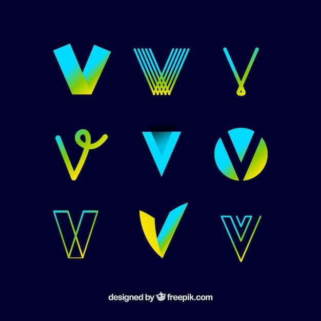 logo letter v template collection vector free download