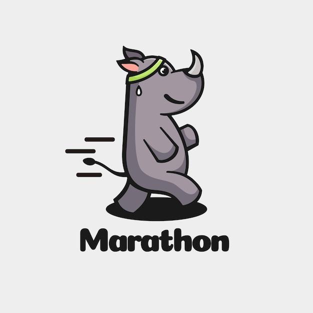 Logo  marathon simple mascot style. Premium Vector