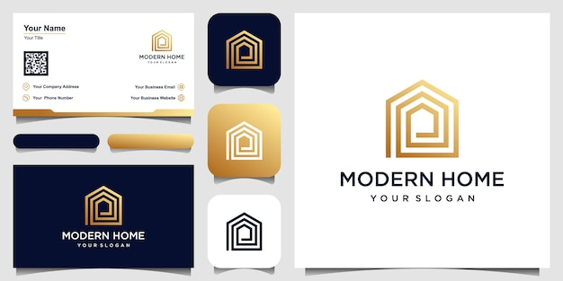 Logo modern home   for construction, home, real estate, building, property. minimal awesome trendy professional logo design template and business card design Premium Vector