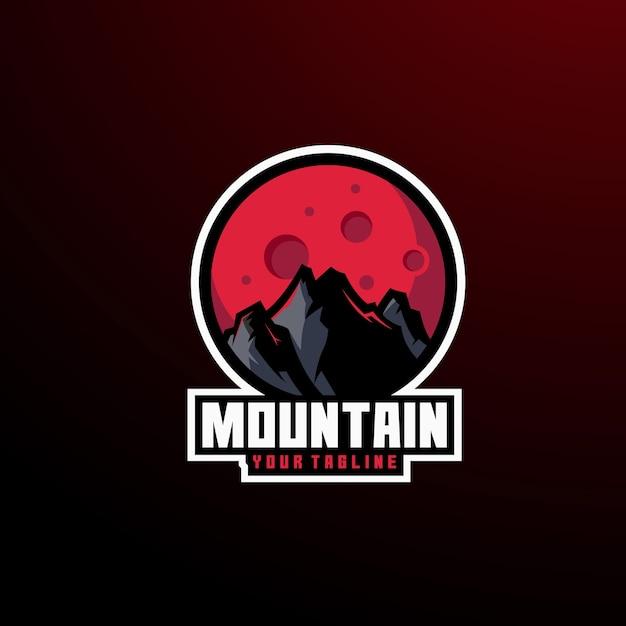 ロゴ山のパノラマ夏冬 Premiumベクター