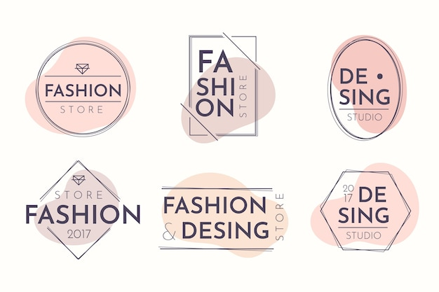 Logo pack in pastel colors Free Vector