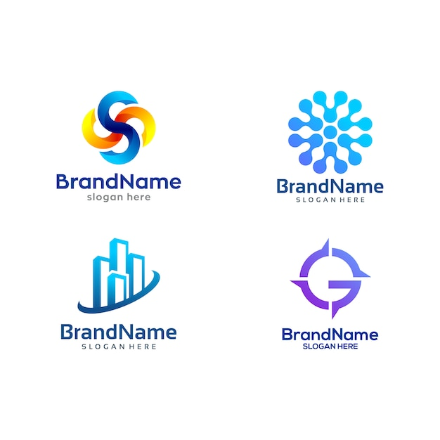 Logo pack template Premium Vector
