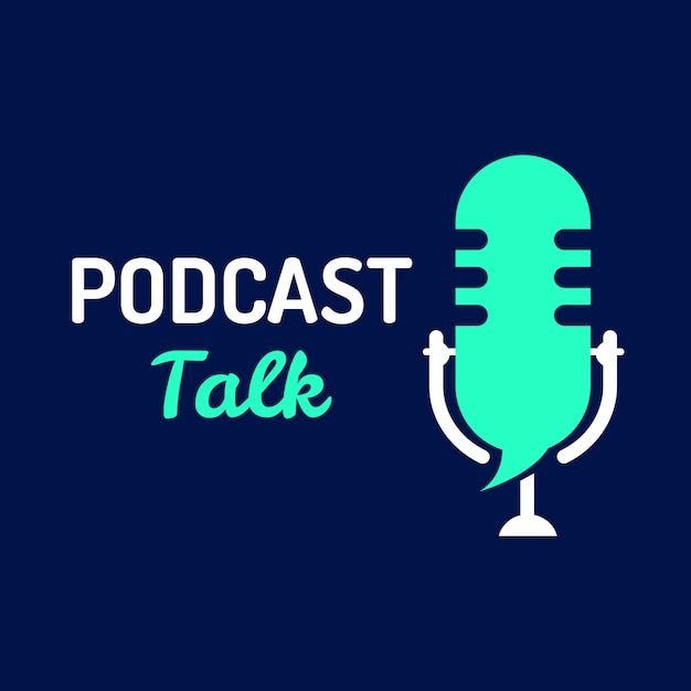 Logo podcast talk with microphone Premium Vector