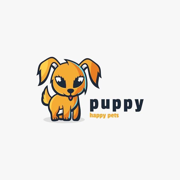 Logo puppy cute cartoon style. Premium векторы