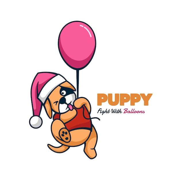 Логотип щенок талисман мультяшном стиле. Premium векторы
