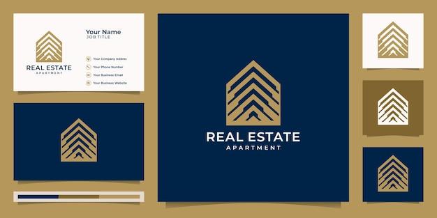 Логотип недвижимости для строительства, дома, квартиры, современного дома Premium векторы