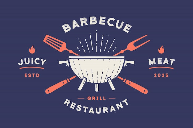 Logo for restaurant. logo with grill, bbq or barbecue Premium Vector