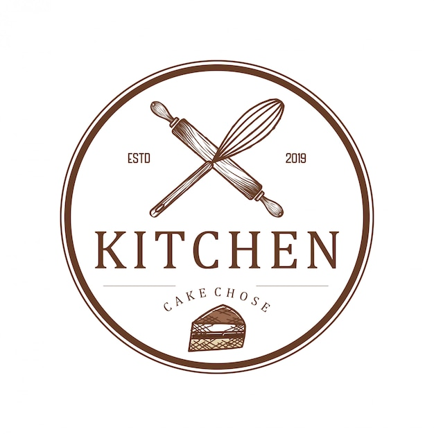 Logo for restaurants or kitchen bakeries and catering Premium Vector