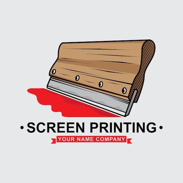 Logo screen printing squeegee design Premium Vector