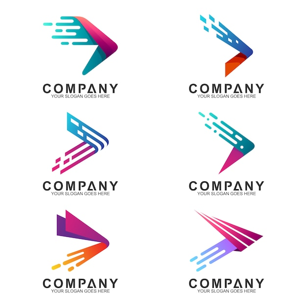 Logo set of fast arrows with motion shape Premium Vector