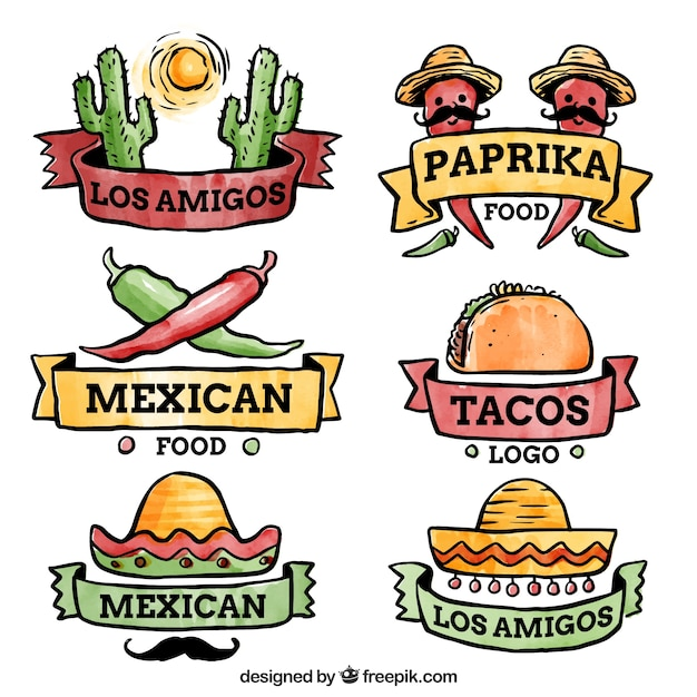 logo set for mexican restaurants vector free download rh freepik com mexican restaurant logo design mexican restaurant logo maker