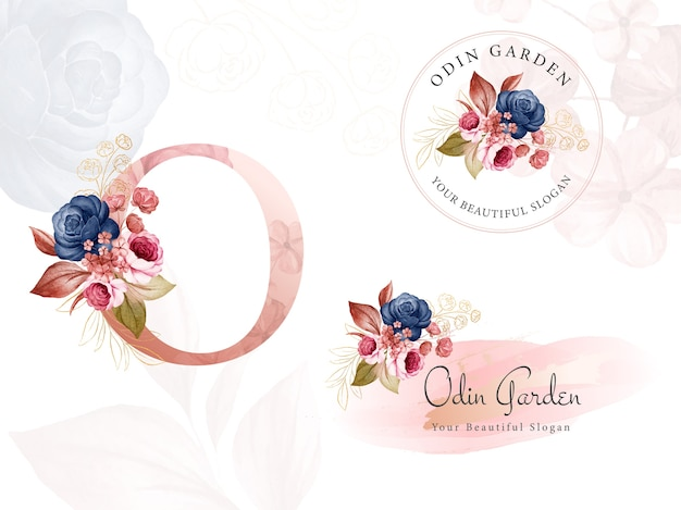이니셜 O, 원형 및 가로에 대한 네이비 및 브라운 수채화 꽃의 로고 세트. 프리미엄 벡터