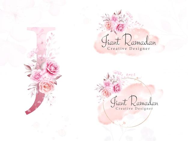 Логотип набор акварельных цветов для начального j из мягких цветов, листьев, мазка и золотого блеска. готовый ботанический значок, монограмма для брендинга Premium векторы