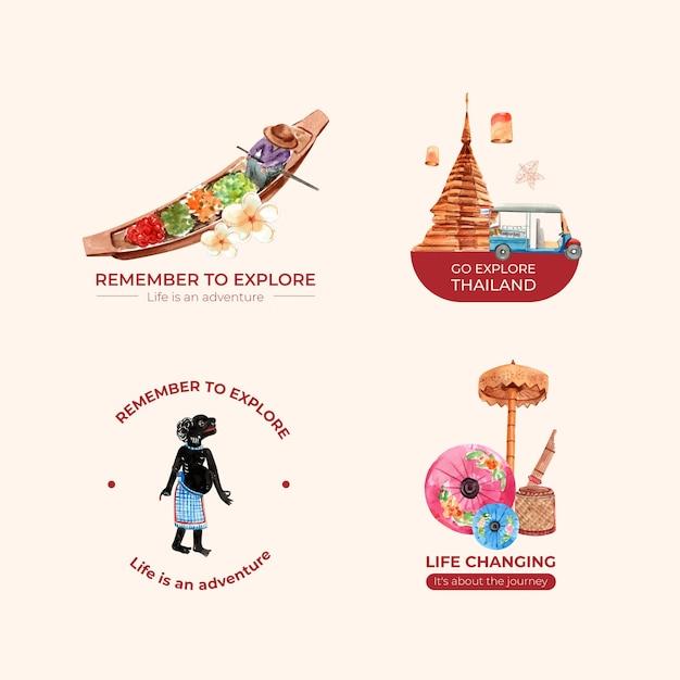 Logo impostato con il concetto di viaggio thailandia per branding e marketing in stile acquerello Vettore gratuito