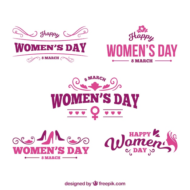 Logo set for womans day Free Vector