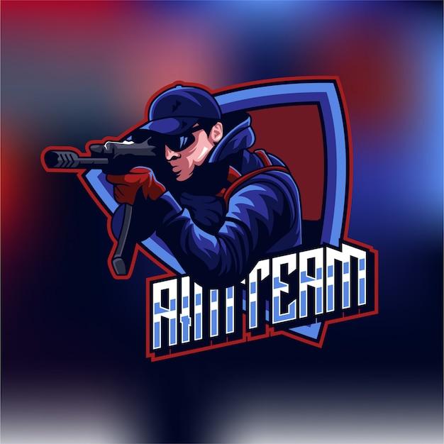 Logo shooter esports gaming Premiumベクター