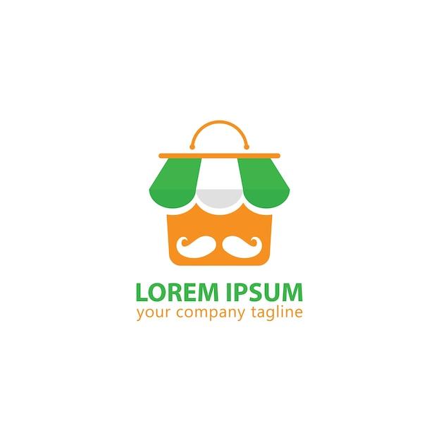 Logo shop mustache trendy Premium Vector