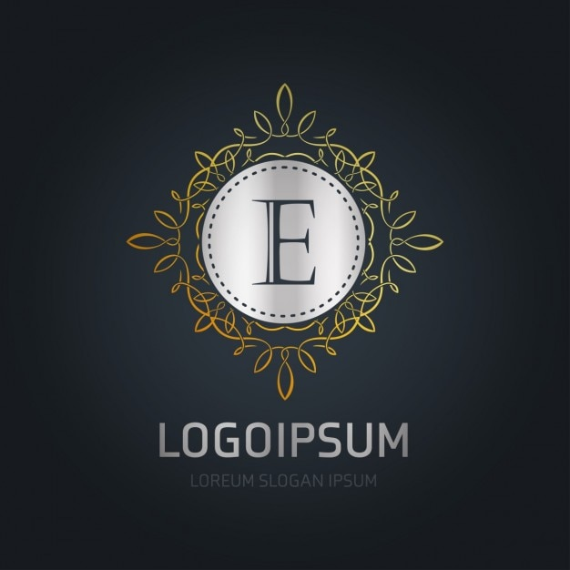 Logo silver with a gold frame Free Vector