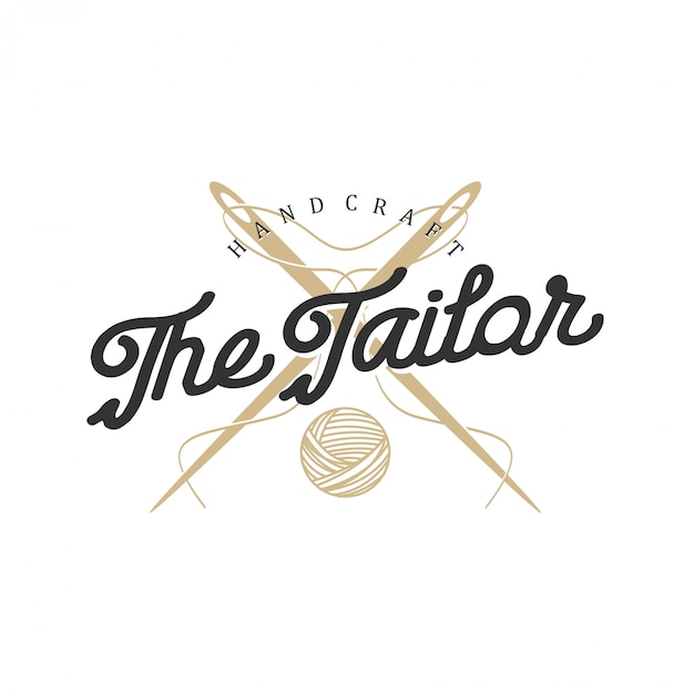 Logo for tailors in vintage style with needle and thread elements Premium Vector
