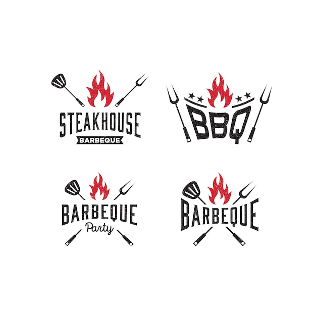 Logo template barbeque, bbq Premium Vector