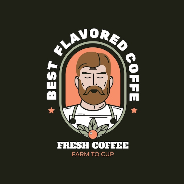 Logo template for coffee business theme Premium Vector