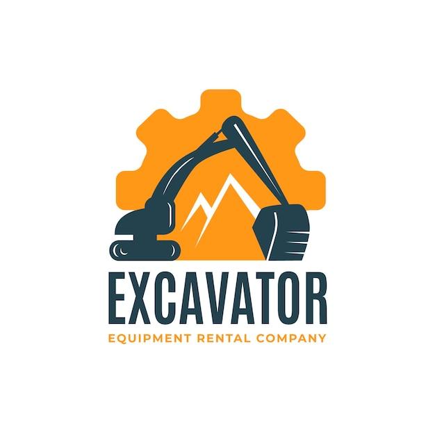 掘削機での建設のためのロゴのテンプレート Premiumベクター