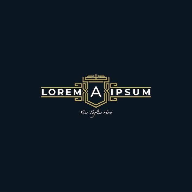 Logo template simple retro with line style Premium Vector