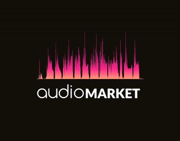 Logo template sound wave Premium Vector