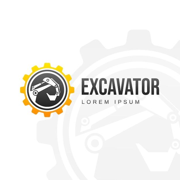 Logo template with excavator Premium Vector