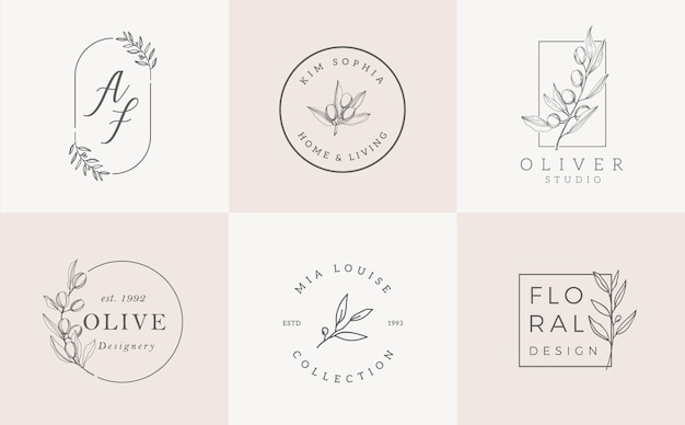 Шаблоны логотипов установлены. элегантный дизайн логотипа с листьями, веткой и венком Premium векторы
