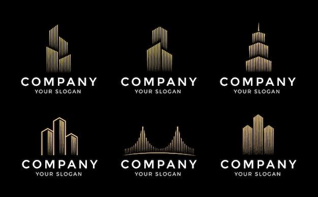 Logo templates set. real estate, building and construction logo vector design Premium Vector