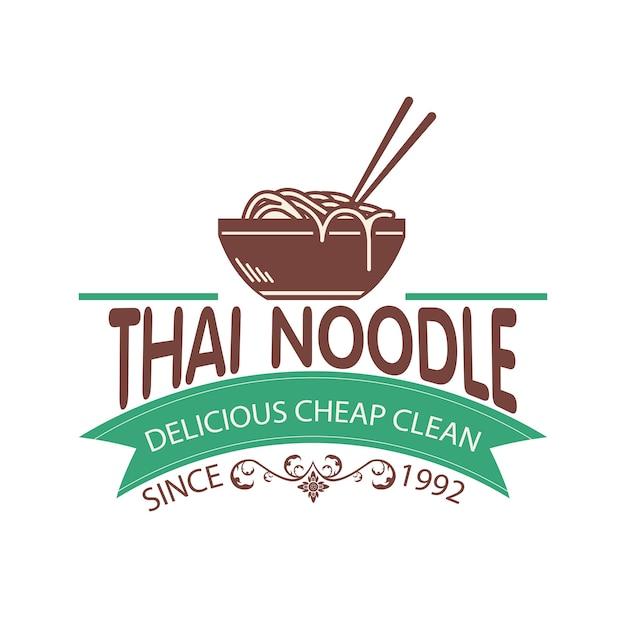 Logo thai noodle semple Premium Vector