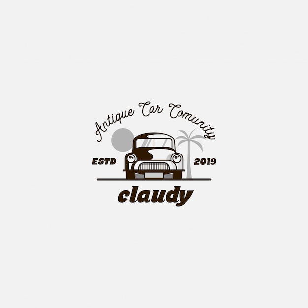 Logo travel with classic car Premium Vector