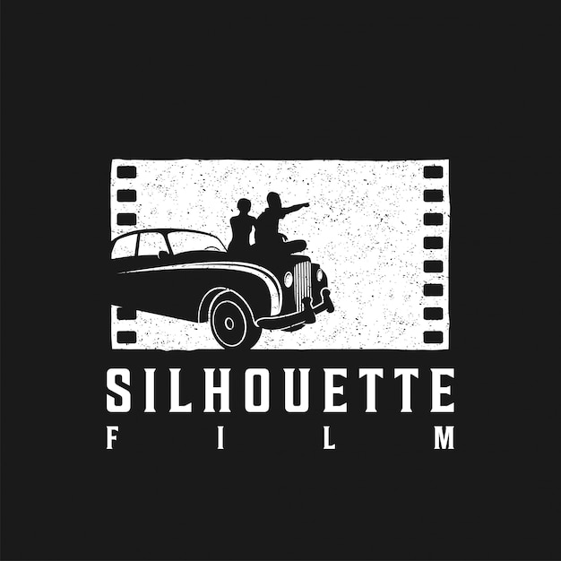 Logo of two teenagers dating together on the hood of the car Premium Vector