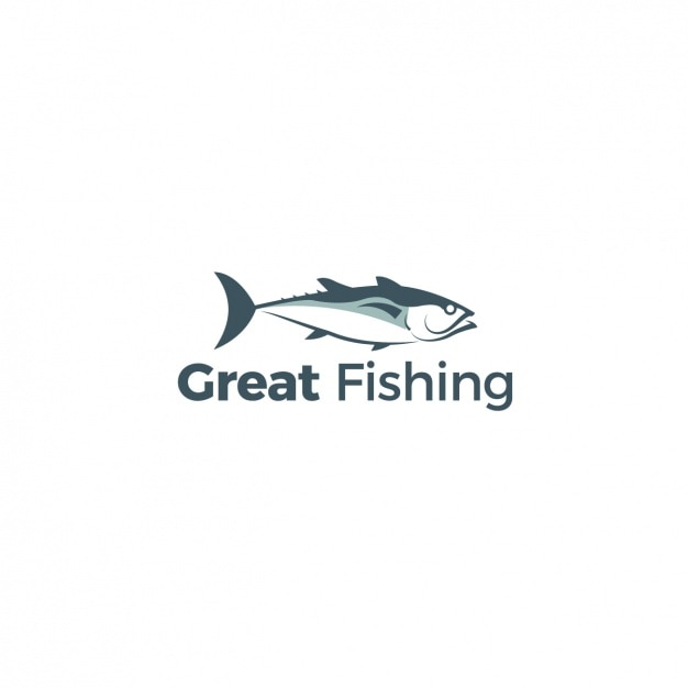 Logo with a fish on a white background Free Vector