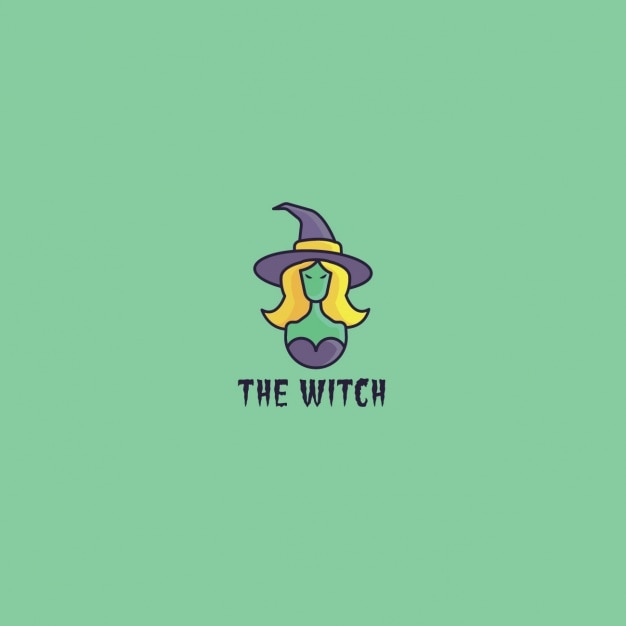 Logo with a witch Free Vector