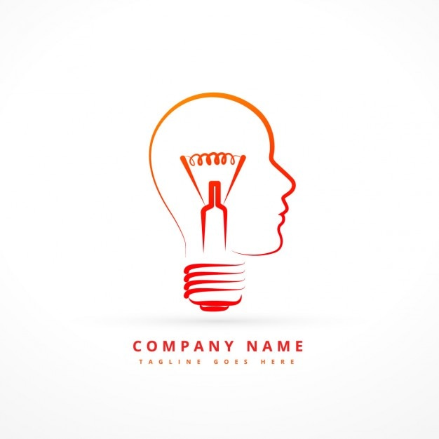 logo with abstract bulb with face form vector free download