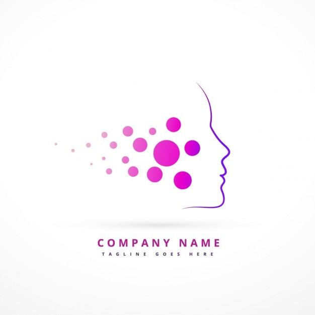 Logo with abstract purple face Free Vector