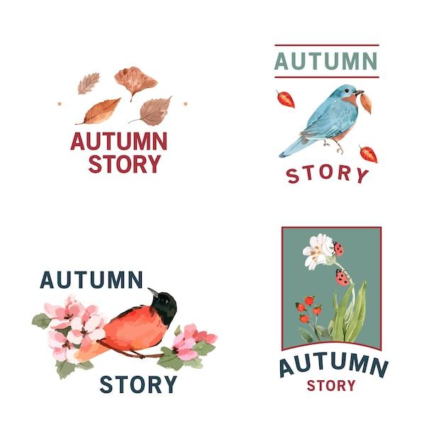 秋の森と動物のロゴ 無料ベクター