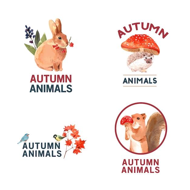 가을 숲과 동물 로고 무료 벡터